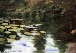Yerres, on the Pond, Water Lilies - Gustave Caillebotte Oil Painting