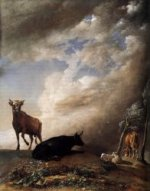 Cattle and Sheep in a Stormy Landscape - Paulus Potter Oil Painting