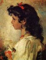 Head of an Italian Girl - Oil Painting Reproduction On Canvas