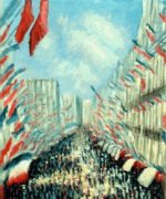 La Rue Montorgueil, Paris, Festival of June 30, 1878 II - Claude Monet oil painting