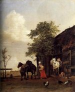 Figures with Horses by a Stable - Paulus Potter Oil Painting