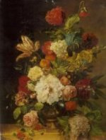A Bunch of Flowers in a Bronze Vase - Oil Painting Reproduction On Canvas