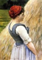 Peasant Against Hay - Oil Painting Reproduction On Canvas