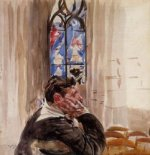 Portrait of a Man in Church - Giovanni Boldini Oil Painting