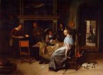 The Cardplayers - Jan Steen oil painting