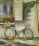 Courtyard Bicycle - Oil Painting Reproduction On Canvas