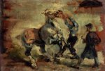 Horse Fighting His Groom - Henri De Toulouse-Lautrec Oil Painting