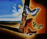 Landscape with Butterflies II - Salvador Dali Oil Painting