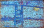 Nocturne: Battersea Bridge - James Abbott McNeill Whistler Oil Painting