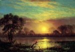 Evening, Owens Lake, California - Albert Bierstadt Oil Painting