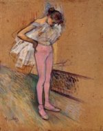 Dancer Adjusting Her Tights - Henri De Toulouse-Lautrec Oil Painting