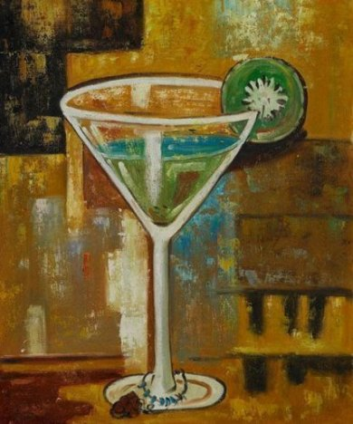 Martini with Kiwi - Oil Painting Reproduction On Canvas