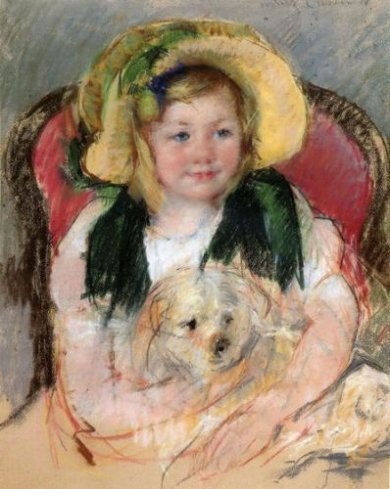 Sara with Her Dog, in an Armchair, Wearing a Bonnet with a Plum Ornament - Mary Cassatt Oil Painting