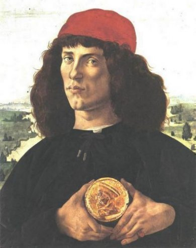 Portrait of a Man with a Medal of Cosimo the Elder - Sandro Botticelli Oil Painting