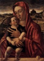 Madonna, with Child Standing on a Parapet - Giovanni Bellini Oil Painting