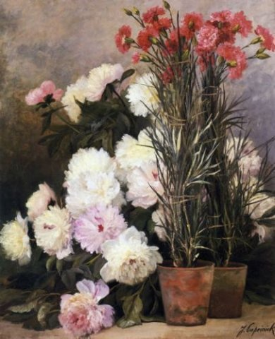 Peonies and Red Carnations - Jean Capeinick Oil Painting