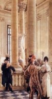 At the Louvre - James Tissot Oil Painting