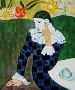 Harlequin Leaning on his Elbow - Oil Painting Reproduction On Canvas