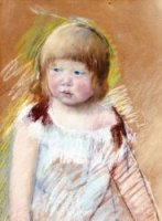 Child with Bangs in a Blue Dress - Mary Cassatt Oil Painting