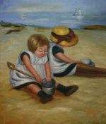 Children Playing on the Beach II - Oil Painting Reproduction On Canvas