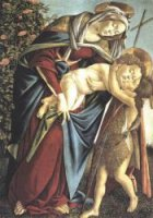 Madonna and Child and the Young St John the Baptist - Sandro Botticelli oil painting