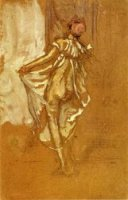 A Dancing Woman in a Pink Robe, Seen from the Back - James Abbott McNeill Whistler Oil Painting