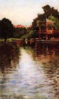 The Boathouse in Central Park - James Carroll Beckwith Oil Painting
