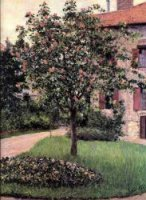 Petit Gennevilliers, Facade, Southeast of the Artist's Studio, Overlooking the Garden, Spring - Gustave Caillebotte Oil Painting