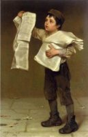 Newsboy - John George Brown Oil Painting