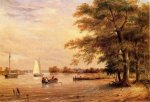 On the Shrewsbury River, Redbank, New Jersey - Thomas Birch Oil Painting