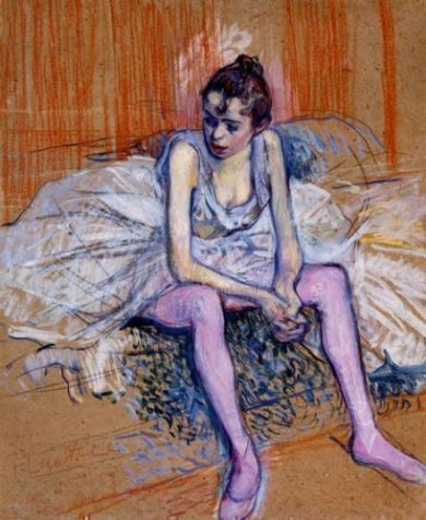 Seated Dancer in Pink Tights - Henri De Toulouse-Lautrec Oil Painting