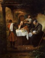 The Supper at Emmaus - Jan Steen oil painting