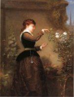 Tending the Rose Bush - Oil Painting Reproduction On Canvas