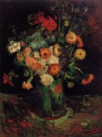 Vase with Zinnias and Geraniums - Vincent Van Gogh Oil Painting