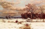 Children in a Snowy Landscape - William Mason Brown Oil Painting
