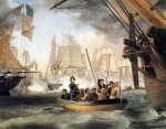"Commodore Perry Leaving the ""Lawrence"" for the ""Niagara: at the Battle of Lake Erie - Thomas Birch Oil Painting"