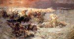 Pharoah and His Army Engulfed by The Red Sea - Frederick Arthur Bridgeman Oil Painting