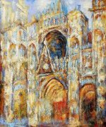 The Cathedral in Rouen, The Portal, Harmony in Blue - Claude Monet Oil Painting