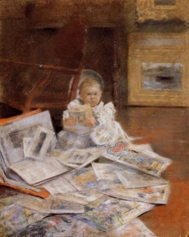 Child with Prints - William Merritt Chase Oil Painting
