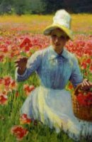 Girl with Poppies - Oil Painting Reproduction On Canvas