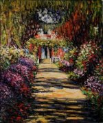 Garden Path at Giverny - Claude Monet Oil Painting