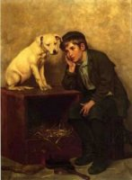 Shoeshine Boy with His Dog - John George Brown Oil Painting