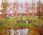 Cows by the Stream - Theodore Clement Steele Oil Painting