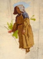 Grape Picker in a Cap - Jean Frederic Bazille Oil Painting