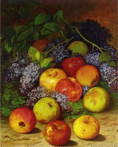 Apples and Lilacs - William Mason Brown Oil Painting