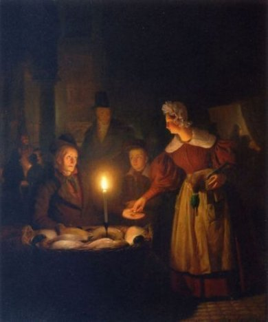 The Poultry Seller - Petrus Van Schendel Oil Painting