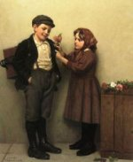 The Button Hole Posey - John George Brown Oil Painting
