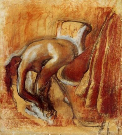 After the Bath, Woman Drying Herself 2 - Edgar Degas Oil Painting