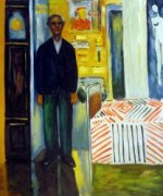 Self Portrait: Between Clock and Bed II - Edvard Munch Oil Painting