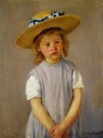 Little Girl in a Big Straw Hat and a Pinnafore - vas Mary Cassatt Oil Painting